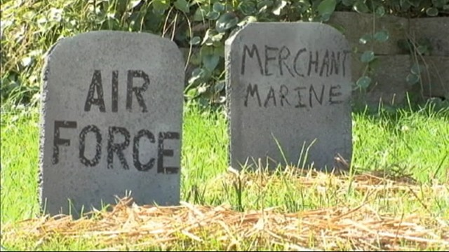 VIDEO: Styrofoam tombstones represent U.S. military veterans who take their own lives daily.