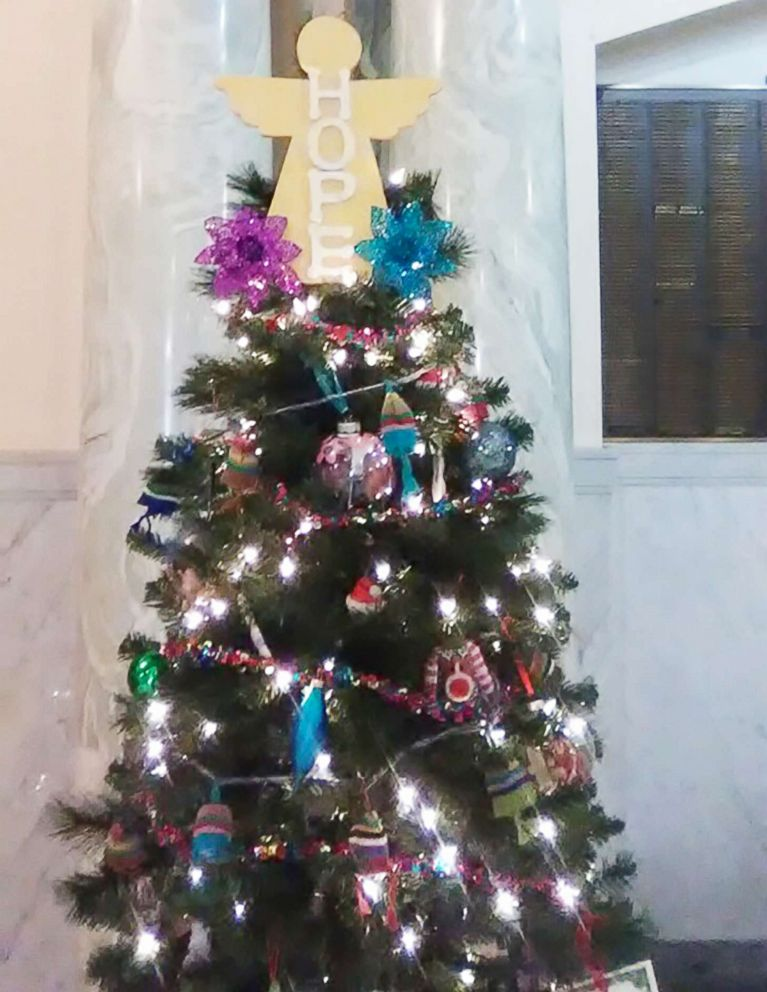 PHOTO: A Christmas tree memorial decorated at the courthouse in Delphi, Indiana.