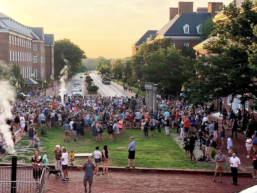 PHOTO: Hundreds of people attended a walking vigil in Annapolis, Md., to mourn the death of five employees of the Capital Gazette who were killed on Thursday during a shooting in the newsroom.