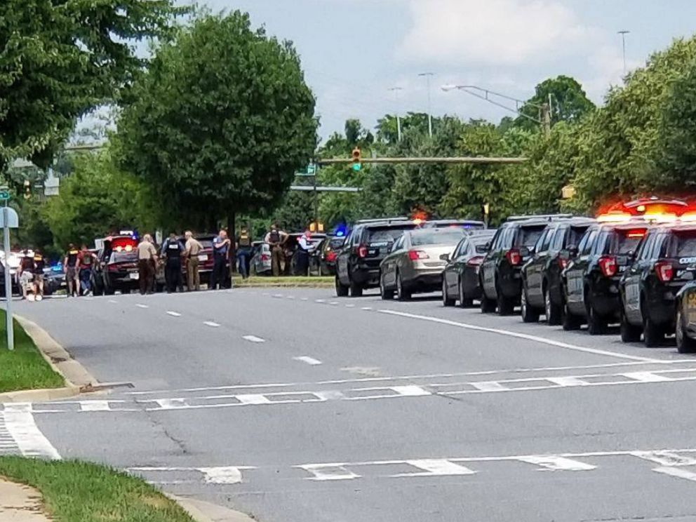 PHOTO: First responders gather after reports of a shooting in the offices of the Capital Gazette in Annapolis, Md., June 28, 2018.