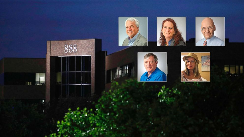 A building housing The Capital Gazette newspaper's offices is seen at dawn, June 29, 2018, in Annapolis, Md. Rob Hiaasen, Wendi Winters, Gerald Fischman, John McNamara and Rebecca Smith were victims in the shooting at The Capital Gazette newspaper, June 28, 2018.