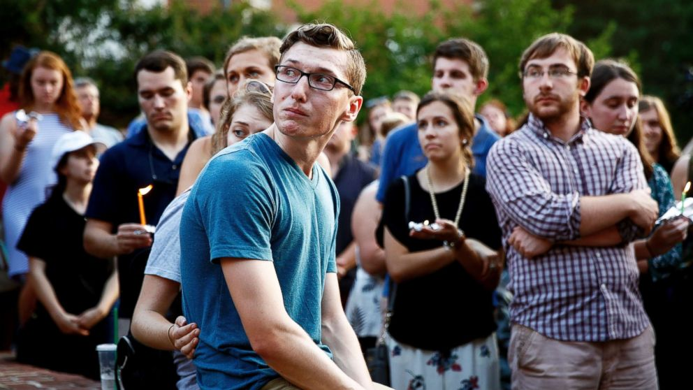 People gather for a vigil in response to a shooting in the Capital Gazette newsroom on June 29, 2018, in Annapolis, Md.