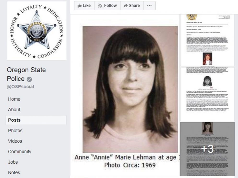 PHOTO: Oregon State Police released this image with a press statement that skeletal remains found in 1971 have been positively identified as Anne Marie Lehman.