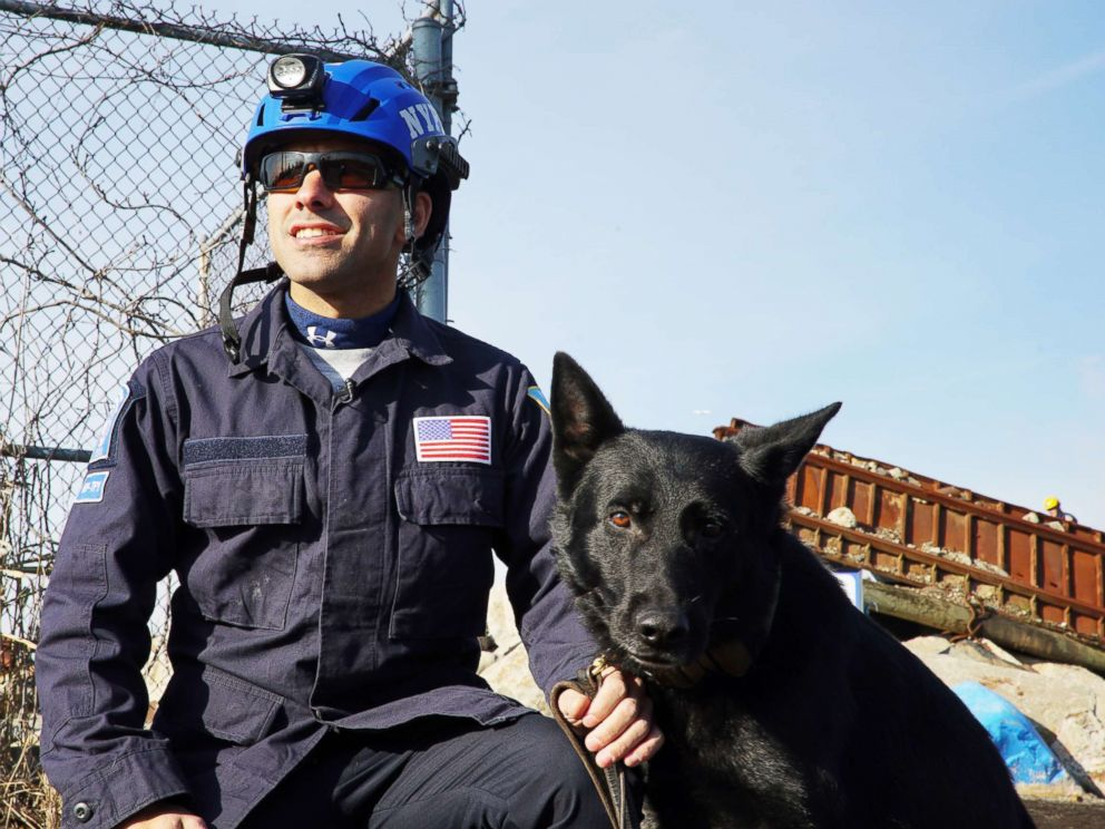 PHOTO: Bruno with his handler NYPD Officer Anthony Barreto at the FEMA Urban Search and Rescue team exam.