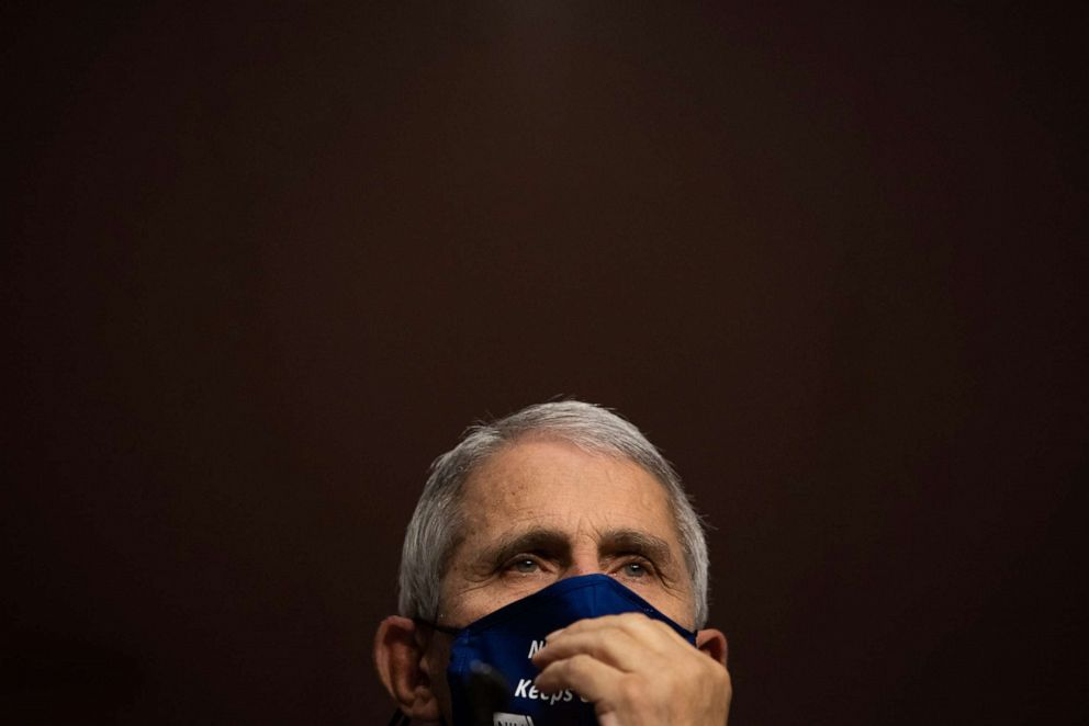 PHOTO: Dr. Anthony Fauci, director of the National Institute of Allergy and Infectious Diseases, listens during a U.S. Senate committee hearing on the federal government's response to COVID-19 at the U.S. Capitol in Washington, D.C., on Sept. 23, 2020.