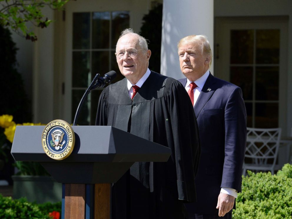 PHOTO: Justice Anthony Kennedy speaks as President Donald trump looks on before Neil Gorsuch is swearing in as an Associate Justice of the Supreme Court during a ceremony at the White House Rose Garden, April 10, 2017, in Washington.