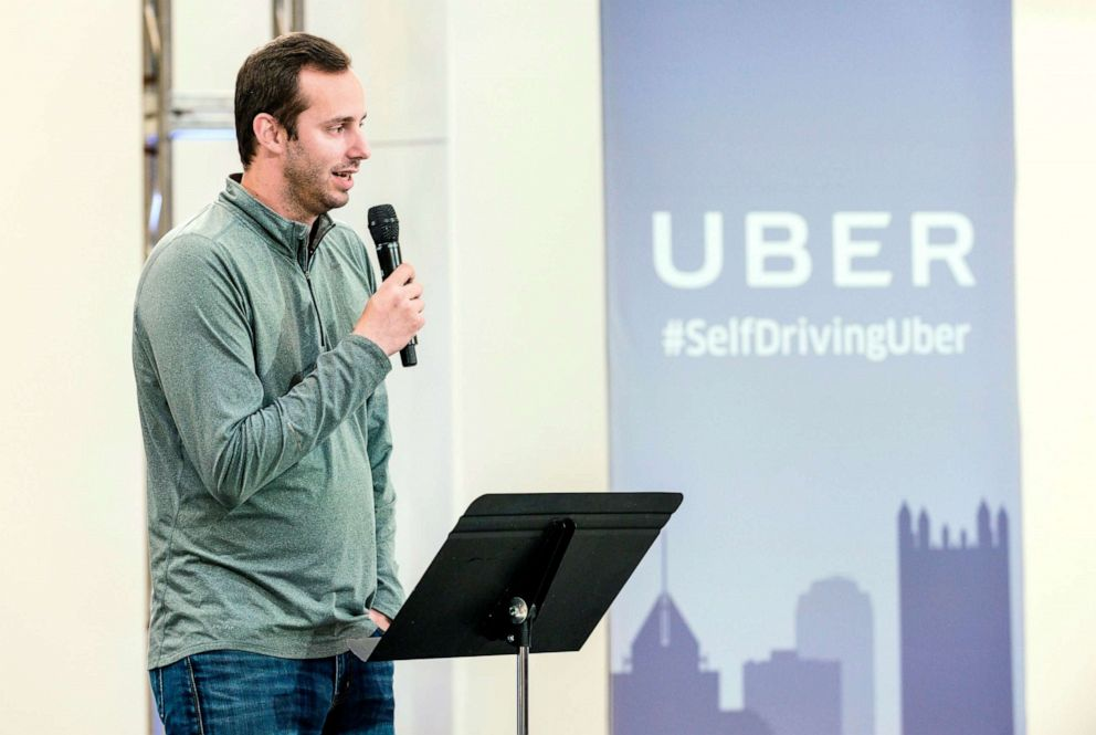 PHOTO: Anthony Levandowski, Otto Co-founder and VP of Engineering at Uber, speaks to members of the press during the launch of the pilot model of the Uber self-driving car at the Uber Advanced Technologies Center, Sept. 13, 2016, in Pittsburgh.