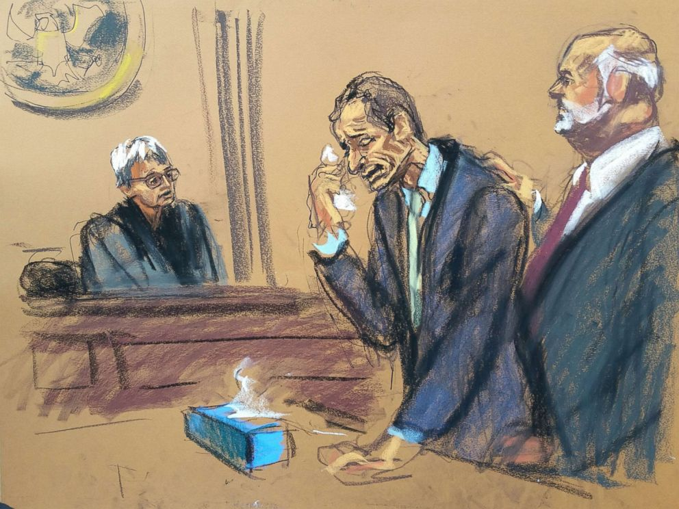 PHOTO: Anthony Weiner is depicted in this court sketch from his sentencing hearing on Sept. 9, 2017, in New York.