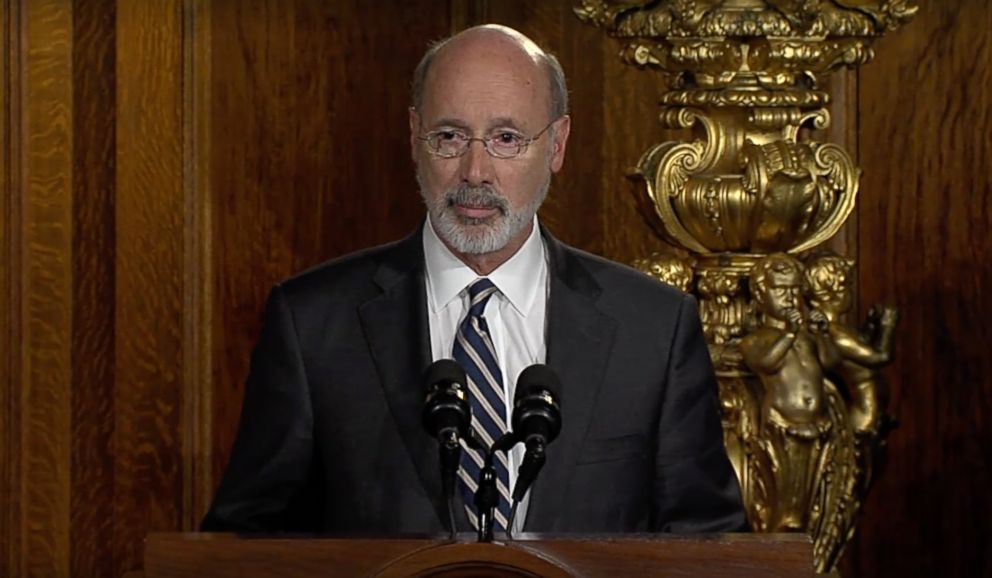 PHOTO: Pennsylvania Gov. Tom Wolf speaks before signing an anti-hazing law.