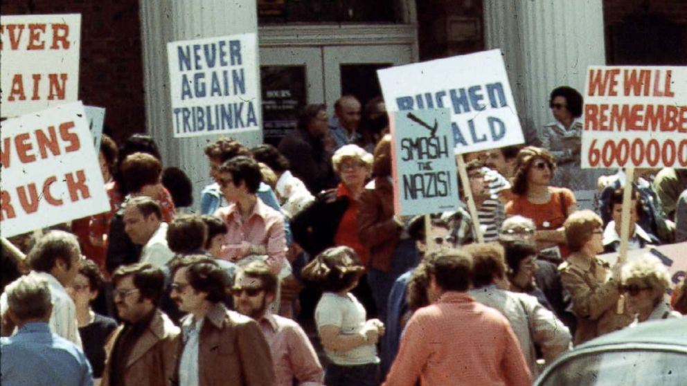 Protesters are pictured at an Anti-Nazi demonstration in front of the Skokie village hall, May 1977.