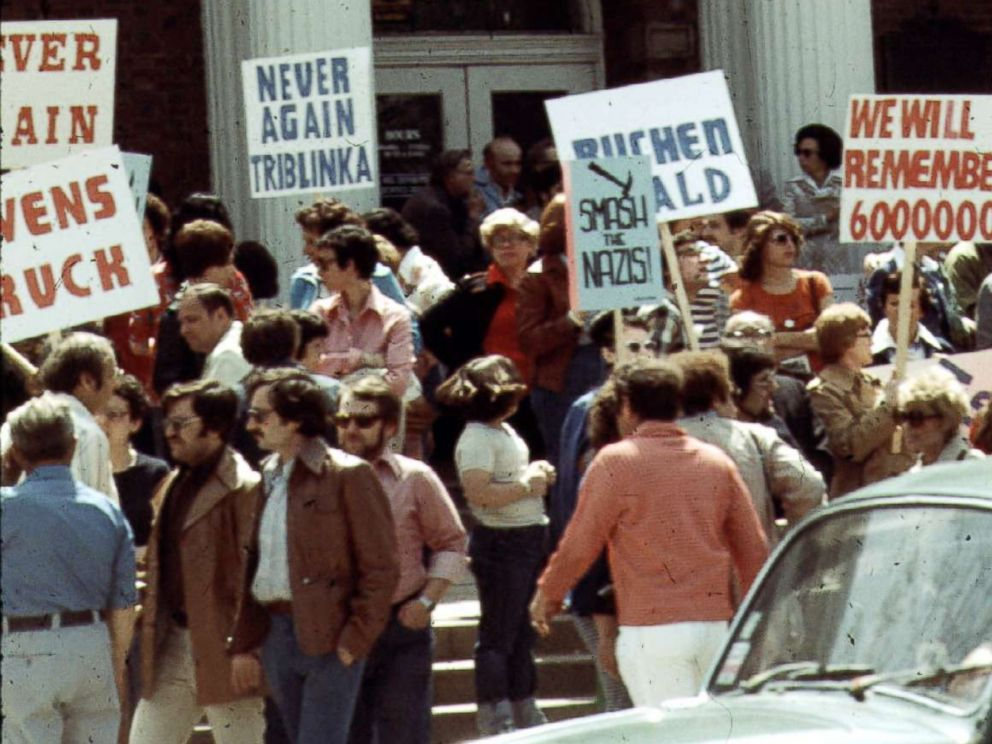 PHOTO: Protesters are pictured at an Anti-Nazi demonstration in front of the Skokie village hall, May 1977.