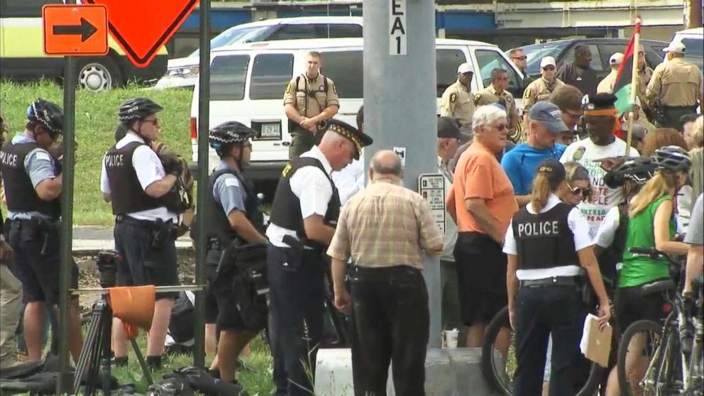As Chicago police tried to break-up an anti-violence protest on a Chicago expressway, several people agreed to be arrested, Sept. 3, 2018.