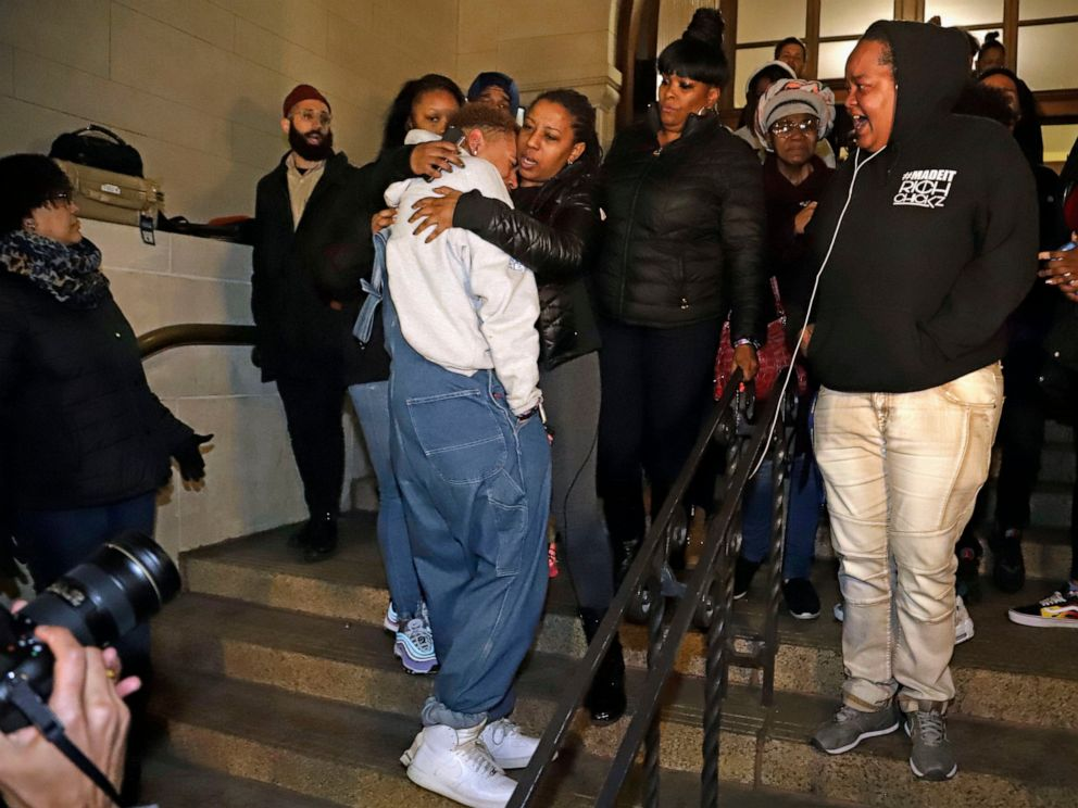 PHOTO: Michelle Kenney, center, the mother of Antwon Rose II, leaves the Allegheny County Courthouse with supporters after hearing the verdict of not guilty on all charges for a former police officer in East Pittsburgh, Pa., Friday, March 22, 2019.