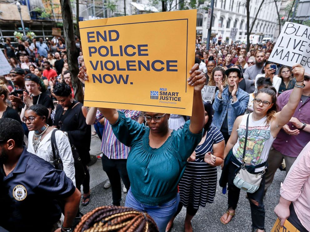 PHOTO: Protesters rally in front of the Allegheny County Courthouse June 21, 2018, in Pittsburgh for the killing of Antwon Rose Jr.