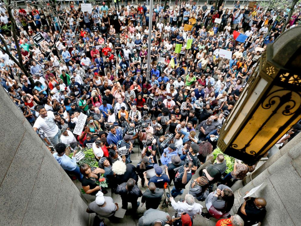 PHOTO: Protesters swarm the front of the Allegheny County Courthouse as they rally, June 21, 2018 in Pittsburgh for the killing of Antwon Rose Jr. who was fatally shot by a police officer.