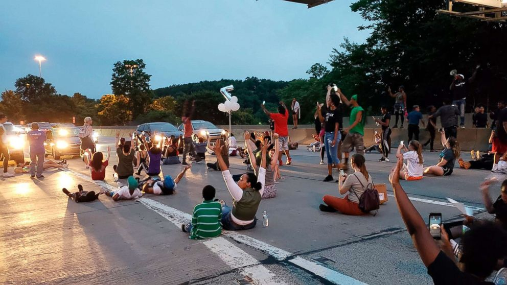 People protesting the East Pittsburgh police after the June 19 shooting death of Antwon Rose shut down Interstate 376  in Pittsburgh, June 21, 2018.