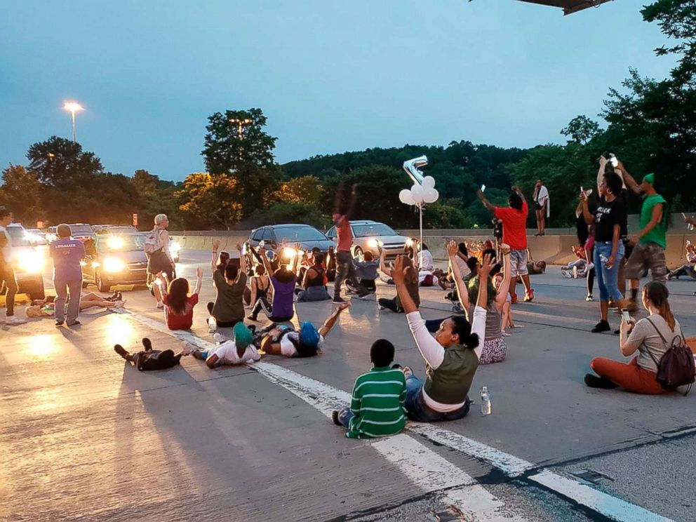 PHOTO: People protesting the East Pittsburgh police after the June 19 shooting death of Antwon Rose shut down Interstate 376 in Pittsburgh, June 21, 2018.