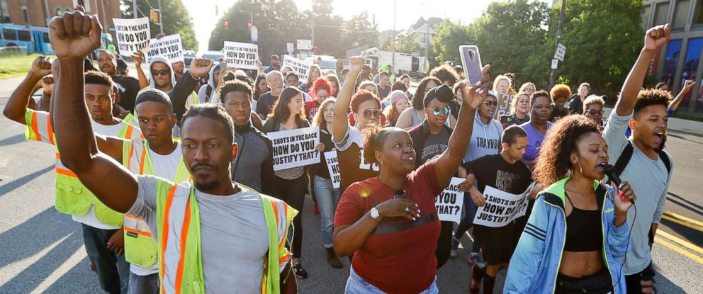 PHOTO: People start a protest march against the shooting death of Antwon Rose Jr. on June 26, 2018, in Pittsburgh.