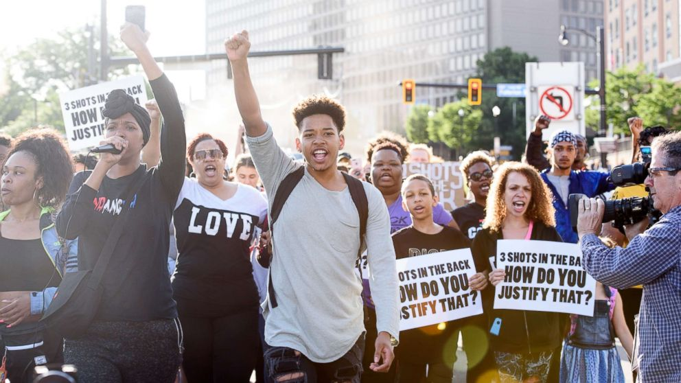 Christian Carter, 18, of East Liberty, Pa., leads protesters a day after the funeral of Antwon Rose II on June 26, 2018 in Pittsburgh.