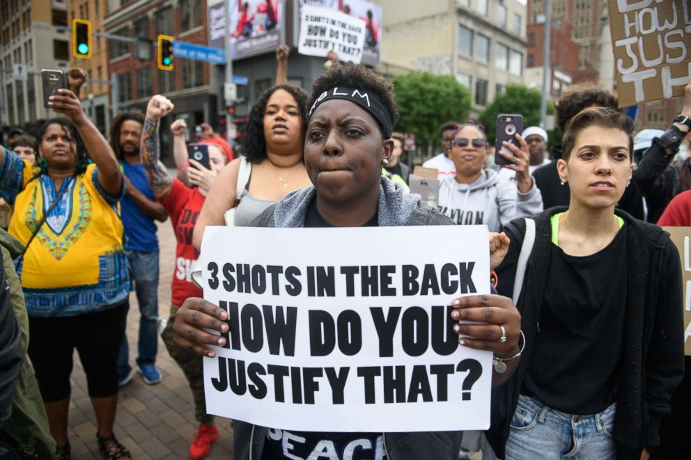 PHOTO: Chantel Wilkerson, 24, of Braddock, Pa., joins a protest a day after the funeral of Antwon Rose II on June 26, 2018 in Pittsburgh.