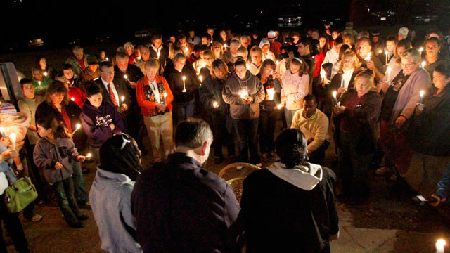 PHOTO: A vigil is held in Doswell, Va., just down the road from where 9-year-old Robbie Wood Jr. disappeared on Sunday, drew about 100 people, Oct. 25, 2011.