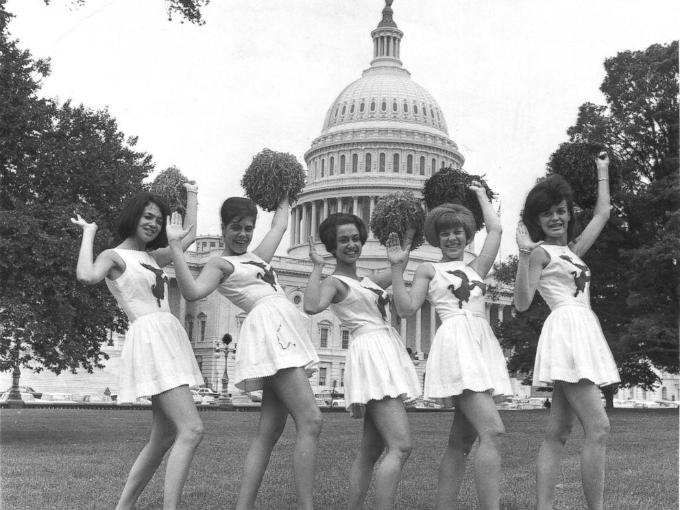 PHOTO: Democrat Cheerleaders show their spirit before the Congressional Baseball Game, July 1966.
