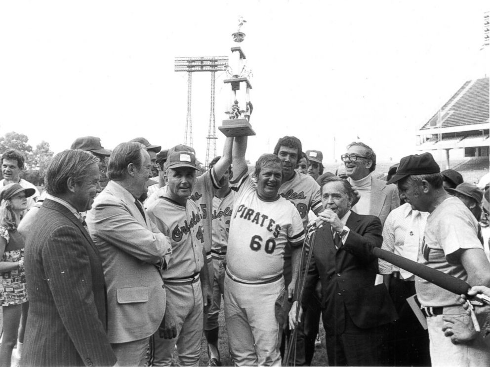 PHOTO: Democratic Team Manager Bill Chappell and Mendel Davis hold the Roll Call trophy after winning the Congressional Baseball Game of 1975