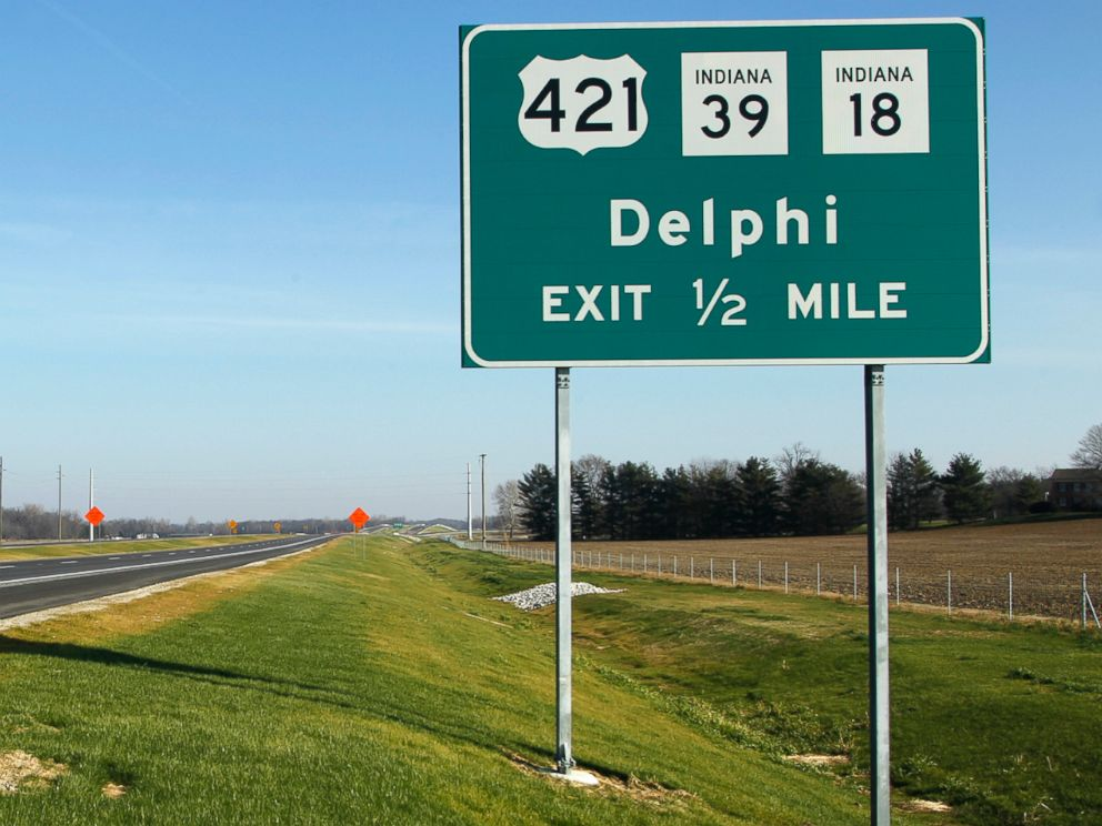 PHOTO: An exit sign for the city of Delphi is pictured on the Hoosier Heartland Corridor near Delphi, Ind., Nov. 29, 2012.