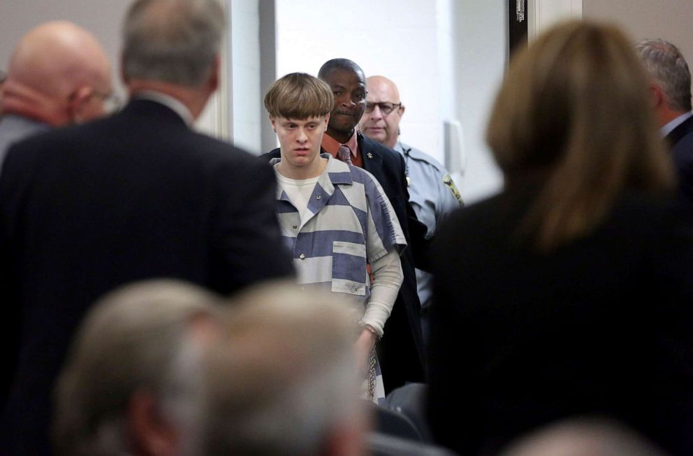 PHOTO: Dylann Roof enters the court room at the Charleston County Judicial Center, April 10, 2017, to enter his guilty plea on murder charges in Charleston, S.C.