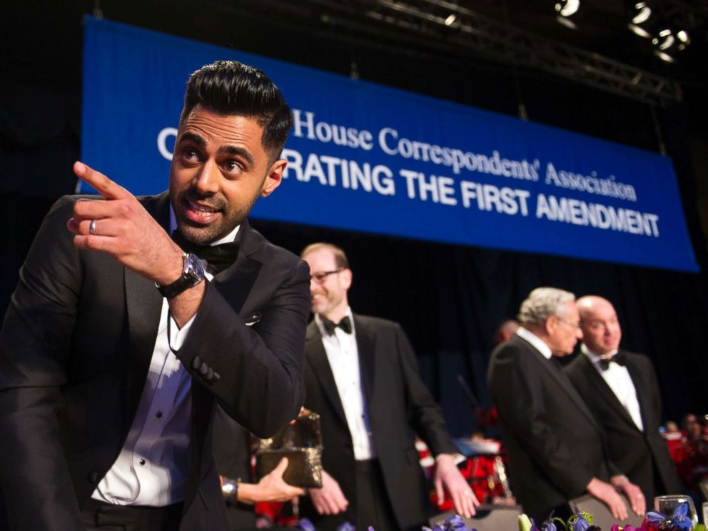PHOTO: The Daily Show correspondent Hasan Minhaj stands at the head table during the White House Correspondents Dinner in Washington, D.C., on April 29, 2017.