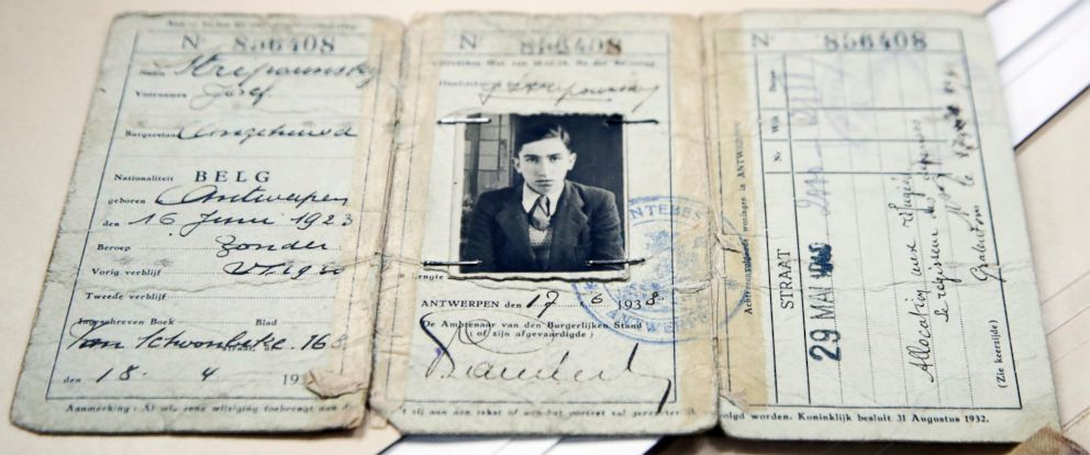 PHOTO: The travel document of Joseph Stripounsky, who was 17 when he fled Belgium with his family, is shown at the Holocaust Memorial Museum in Washington, June 7, 2017.