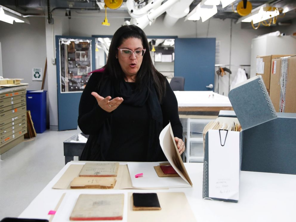 PHOTO: Curator Kyra Schuster, shows diaries laid on a table at the Holocaust Memorial Museum in Washington, June 7, 2017.