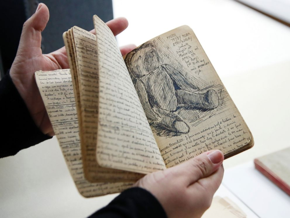 PHOTO: A page of Joseph Stripounskys diary with a sketch showing Master Teddy Bear, is shown at the Holocaust Memorial Museum in Washington, Wednesday, June 7, 2017.