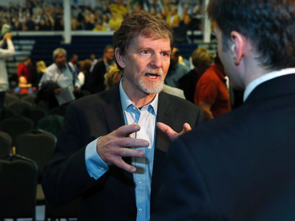In this Nov. 8, 2017, file photo, Jack Phillips, owner of Masterpiece Cake, speaks to supporters after a rally on the campus of a Christian college in Lakewood, Colo.