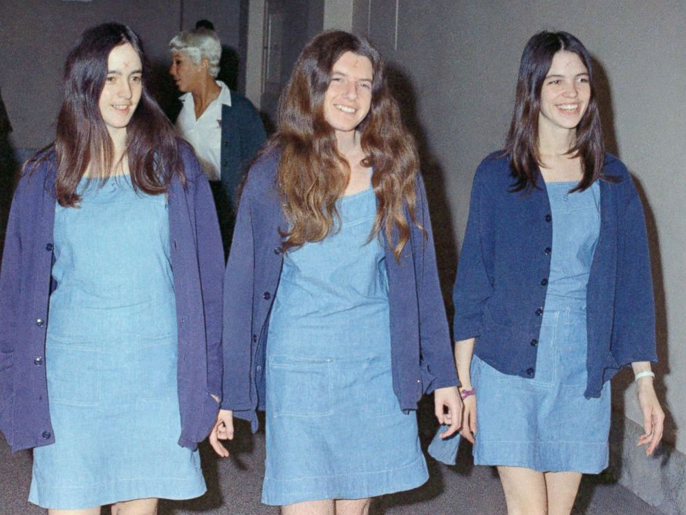 PHOTO: Charles Manson followers, from left: Susan Atkins, Patricia Krenwinkel and Leslie Van Houten, walk to court to appear for their roles in the 1969 cult killings of seven people, Aug. 20, 1970, in Los Angeles, Calif.