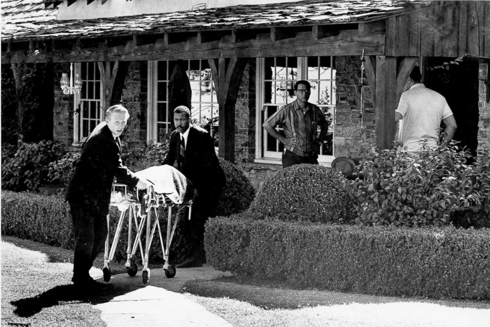 PHOTO: The body of actress Sharon Tate is taken from her rented house on Cielo Drive in Beverly Hills, Calif., Aug. 9, 1969. Tate, who was eight months pregnant, and four other persons were found murdered by Charles Mansons followers.