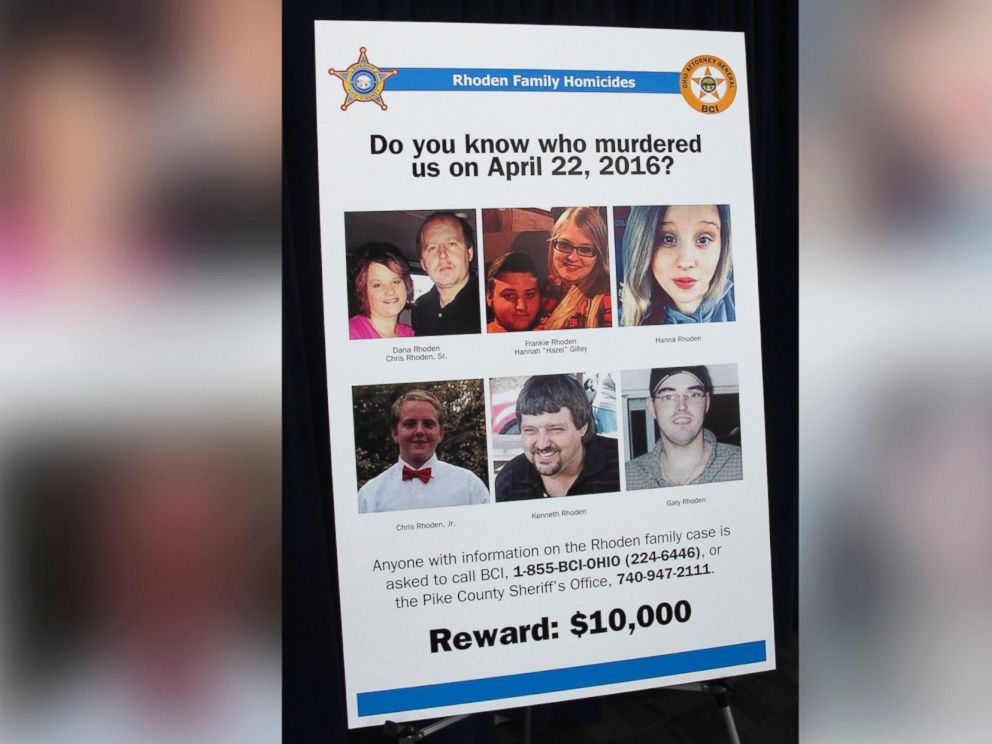 PHOTO: A poster asking for information about the 2016 unsolved killings of eight family members in southern Ohio, is displayed at the Ohio Attorney Generals Office during a press conference, April 13, 2017, in Columbus Ohio.