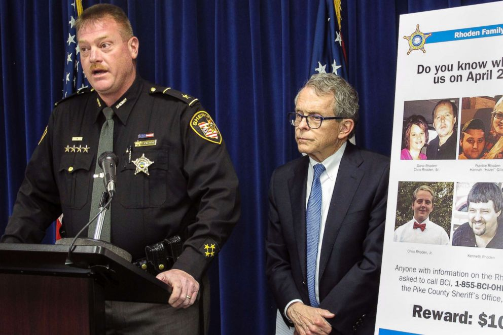 PHOTO: Pike County Sheriff Charles Reader, left, discusses the investigation into the 2016 unsolved killings of eight family members in southern Ohio at a news conference with Attorney General Mike DeWine, right, April 13, 2017, in Columbus, Ohio.
