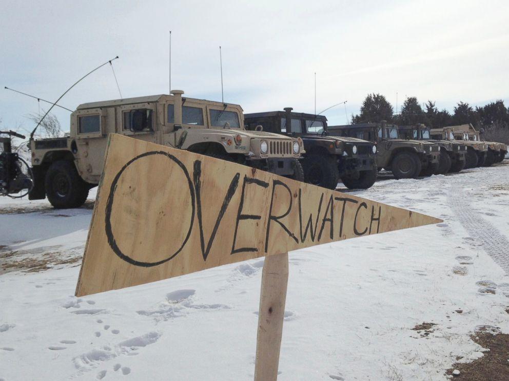 PHOTO: Military vehicles are staged near the path of the Dakota Access pipeline, Feb. 9, 2017, near Cannon Ball, North Dakota.