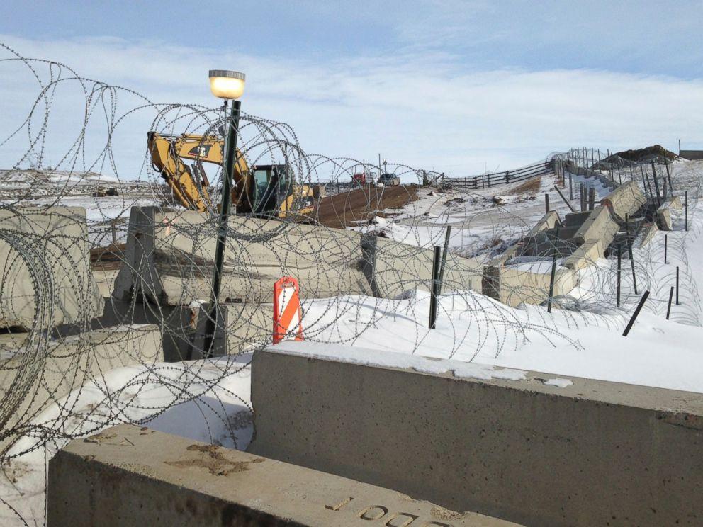 PHOTO: Razor wire and concrete barriers protect access to the Dakota Access pipeline drilling site, Feb. 9, 2017 near Cannon Ball, North Dakota.