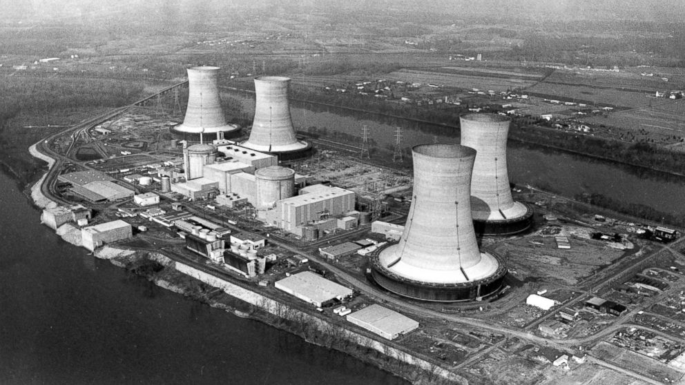 This March 30, 1979, file photo shows an aerial view of the Three Mile Island nuclear power plant near Harrisburg, Pa.