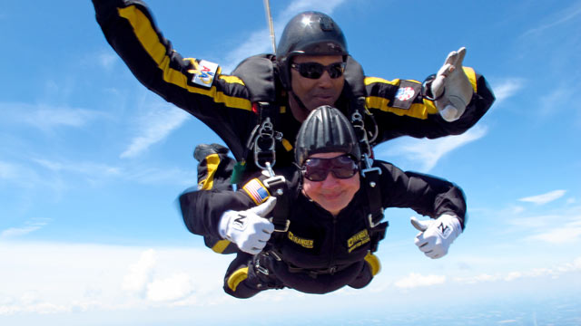 PHOTO: In this, June 23, 2012, photo provided by Sgt. 1st Class Marc Owens, 83-year-old Marjorie Bryan makes a tandem jump with retired Sgt. 1st Class Michael Elliott at the Allen County Airport in Lima, Ohio.