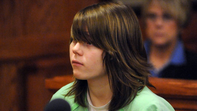 PHOTO: Alyssa Bustamante, 15, listens during a brief hearing where her attorney entered not guilty pleas on her behalf to charges of armed criminal action and first-degree murder in Cole County Circuit Court in Jefferson City, Mo., Dec. 8, 2009.