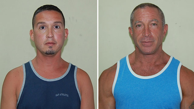 PHOTO: John Hart, 41, Dennis Jay Mayer, 43, both of Palm Springs, California, are seen in this police booking mug provided by the Dominica Police department, Thursday March 22, 2012.