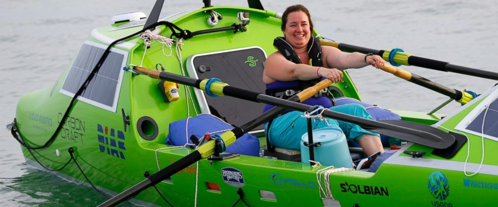 PHOTO: American rower Sonya Baumstein, rows a boat as she leaves Choshi Marina in Choshi, a port east of Tokyo, headed for San Francisco Sunday, June 7, 2015.
