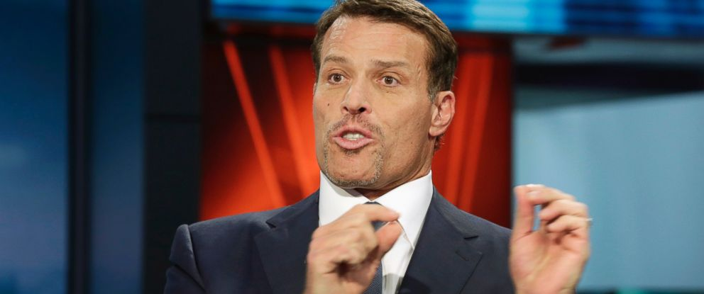 "PHOTO: Motivational speaker Tony Robbins is interviewed during a taping of ""Wall Street Week,"" on the Fox Business Network in New York, March 17, 2016."
