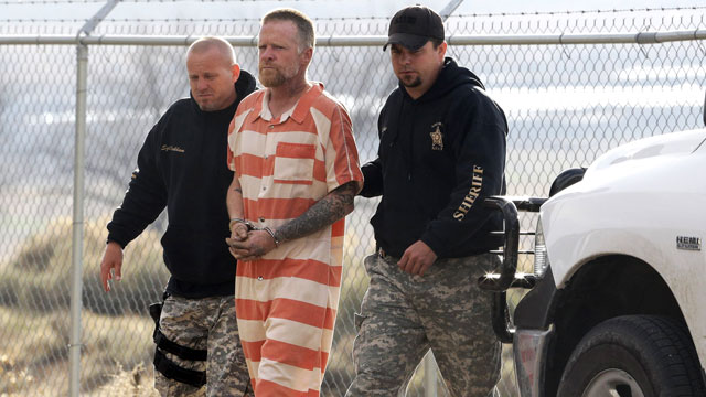 PHOTO: Sanpete Sheriffs Officers escort Troy James Knapp, 45, to the Sanpete County Jail, April 2, 2013, in Manti, Utah.