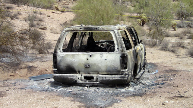 PHOTO: This image provided Saturday June 2, 2012, by the Pinal County Sheriff's Office, shows the vehicle where five dead bodies burned were found inside in Pinal Countys Vekol Valley area, west of Casa Grande, N.M.