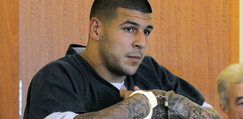 PHOTO: Former New England Patriots football tight end Aaron Hernandez stands during a bail hearing in Fall River Superior Court, June 27, 2013 in Fall River, Mass.