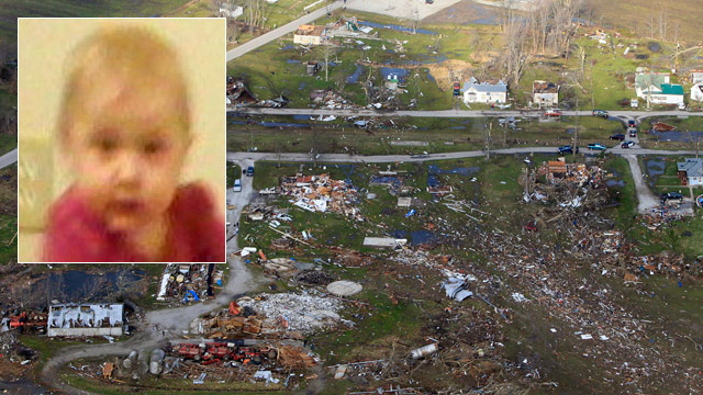 PHOTO: Angel Babcock (inset) was found alive in a field after a deadly tornado.